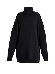 Raey Displaced Sleeve Roll Neck Wool Sweater Navy