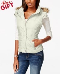 American Rag Faux Fur Trim Puffer Vest Only At Macy's Egret