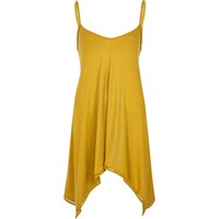 River Island Womens Yellow Hanky Hem Vest