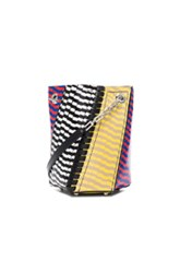 Proenza Schouler Crossbody Hex Bucket Bag Mixed Printed Ayers In Abstract Animal Print Checkered And Plaid Black Red Abstract Animal Print Checkered And Plaid Black Red