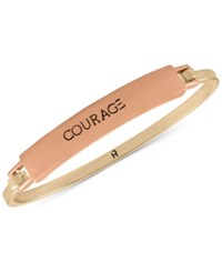 Rachel Roy Two Tone Courage Etched Bangle Bracelet Two Tone