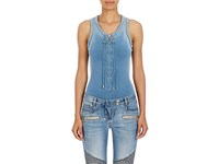 Balmain Women's Lace Up French Terry Bodysuit Blue