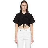 Edit Black Crop Ruched Front T Shirt
