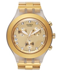 Swatch Watch Unisex Swiss Chronograph Full Blooded Gold Tone Aluminum Bracelet 43Mm Svck4032g