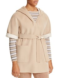 Marina Rinaldi Nadia Hooded Elbow Sleeve Coat Ice Beige