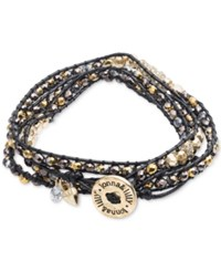 Lonna And Lilly Gold Tone And Cord Beaded Logo Wrap Bracelet