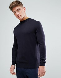 Kiomi High Neck Jumper With Contrast Neck Navy