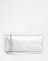 Oasis Leather Felicity Foldover Clutch In Silver Si1silver1