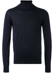 Brioni Turtleneck Sweater Men Silk Cashmere 52 Blue