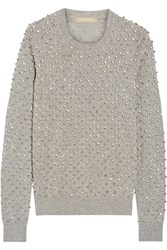 Michael Kors Crystal Embellished Cashmere Sweater Gray