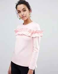 Ted Baker Aiya Long Sleeved Top With Statement Ruffle Front Pink