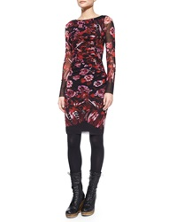 Fuzzi Long Sleeve Floral And Feather Print Ruched Dress