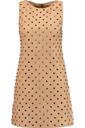 Alice Olivia Clyde Studded Suede Mini Dress Tan