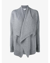Vince Wool And Cashmere Drape Front Cardigan Grey Black