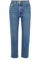 Re Done Originals Stovepipe High Rise Straight Leg Jeans Mid Denim