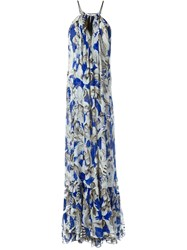 Roberto Cavalli Feather Print Evening Dress White