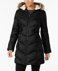 Larry Levine Faux Fur Trimmed Quilted Puffer Coat Black
