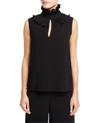 Co Sleeveless Ruffled Mock Neck Top Black