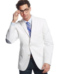 Bar Iii White Cotton Slim Fit Sport Coat With Elbow Patch