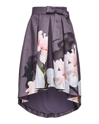 Ted Baker Thali Chatsworth Bloom Asymmetric Midi Skirt Grey