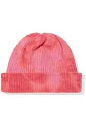 The Elder Statesman Tie Dyed Ribbed Cashmere Beanie Pink