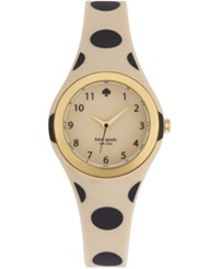 Kate Spade New York Women's Rumsey Beige And Black Polka Dot Printed Rubber Strap Watch 30Mm 1Yru0611