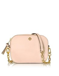 Tory Burch Robinson Pale Apricot Saffiano Leather Round Crossbody Bag