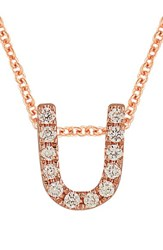 Bony Levy Women's Pave Diamond Initial Pendant Necklace Nordstrom Exclusive Rose Gold U