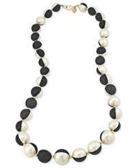 Carolee Necklace 12K Gold Plated Black And White Glass Pearl Long Necklace