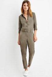 Forever 21 Contemporary Belted Button Front Jumpsuit Olive