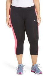 Nike Plus Size Women's 'Essential' Dri Fit Capris Black Hyper Pink Silver