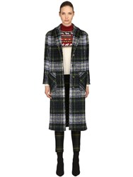Boutique Moschino Oversized Wool Blend Plaid Coat Green Blue