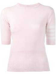 Thom Browne Striped Shortsleeves Jumper Pink And Purple