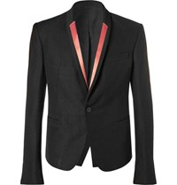 Haider Ackermann Black Slim Fit Contrast Trimmed Linen Blend Blazer Black