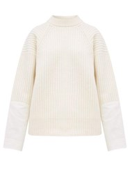 Haider Ackermann Banded Canvas Cuff Ribbed Wool Sweater Ivory