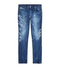 Just Cavalli Tiger Scratch Slim Jeans Male Blue