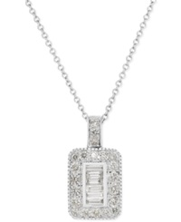 Effy Collection Effy Diamond Rectangle Pendant Necklace In 14K White Gold 1 2 Ct. T.W.