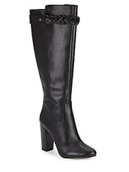 Saks Fifth Avenue Madelyn Leather Braided Knee Boots Black