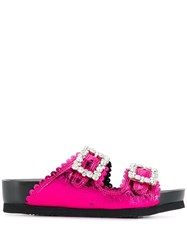Suecomma Bonnie Crystal Buckle Metallic Sandals Pink