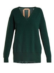 N 21 Contrast Back Ribbed Knit Cotton And Silk Sweater Dark Green