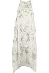 Elizabeth And James Maylie Bead Embellished Printed Silk Chiffon Dress Gray