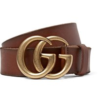 Gucci Brown Burnished Leather Belt Brown