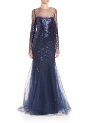 Monique Lhuillier Long Sleeve Illusion Gown Midnight