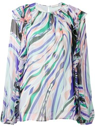 Emilio Pucci Burle Print Ruffled Silk Top Blue