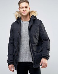 Burton Menswear Parka With Faux Fur Trim Black