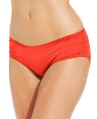Coco Reef Ruched Hipster Bikini Bottoms Women's Swimsuit Lava Coral