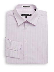 Bogosse Slim Fit Striped Cotton Dress Shirt Red