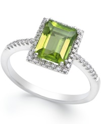 Macy's Peridot 1 1 2 Ct. T.W. And Diamond 1 8 Ct. T.W. Ring In 14K White Gold