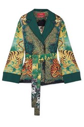 F.R.S For Restless Sleepers Giocasta Printed Silk Twill Jacket Green