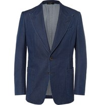 Tom Ford Blue Slim Fit Denim Blazer Navy